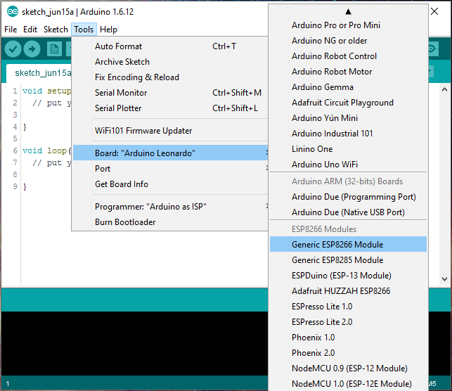 PRODINo WiFi Tutorial select board