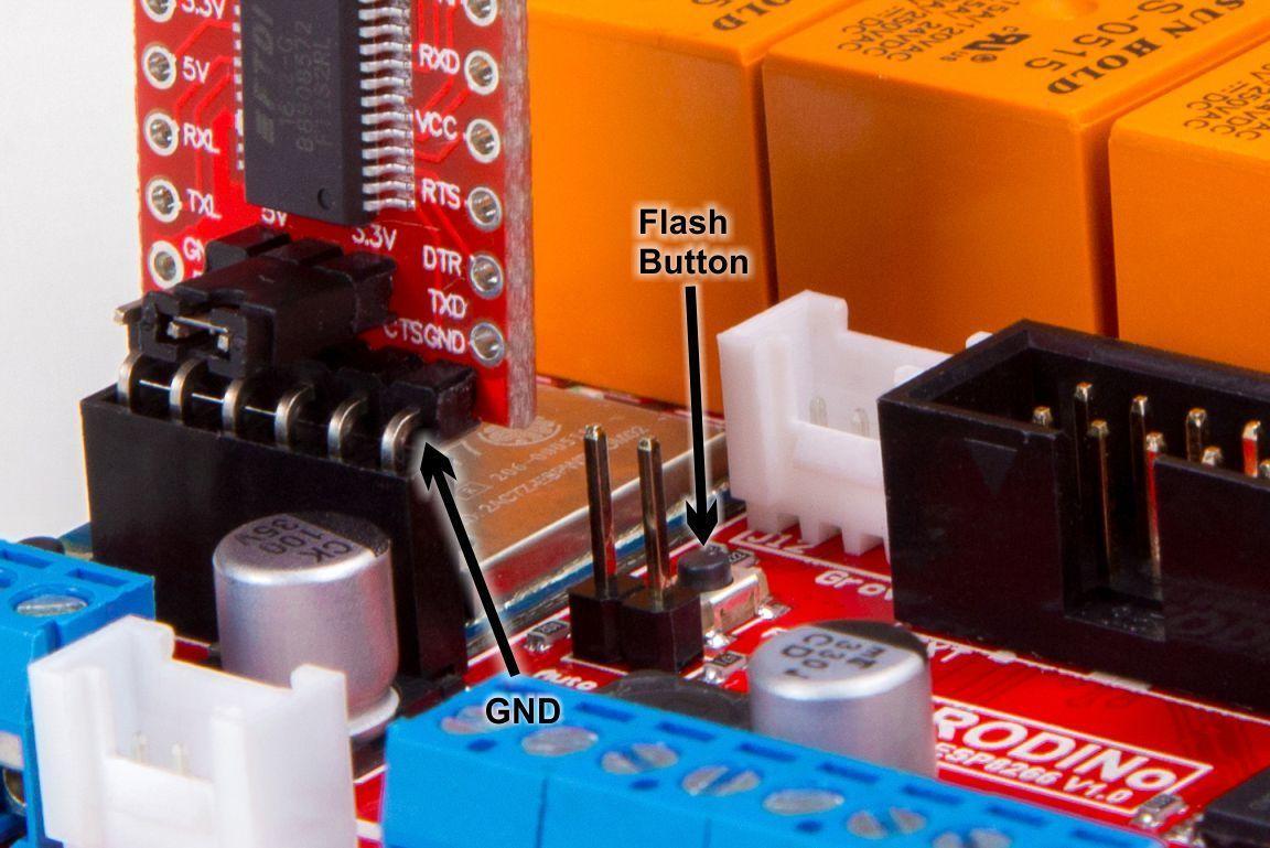 PRODINo WiFi Tutorial flash button