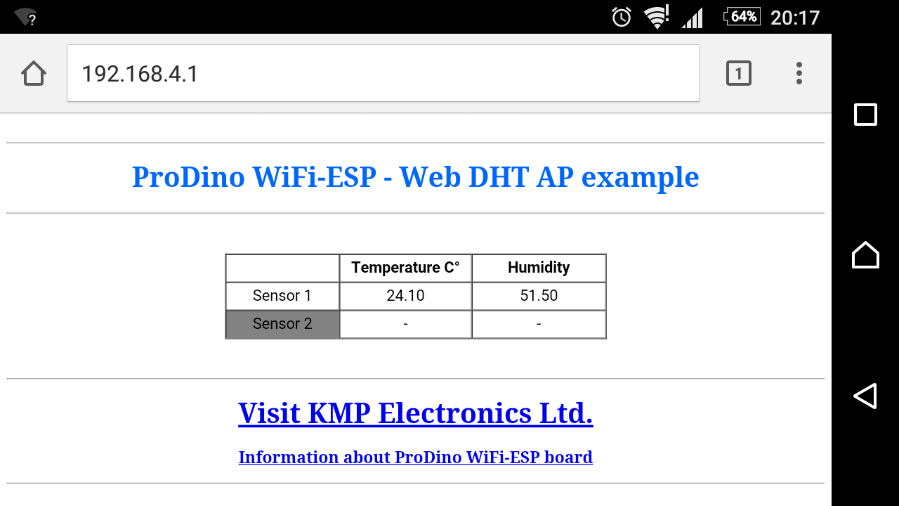 PRODINo WiFi ESP temperature and humidity DHT22