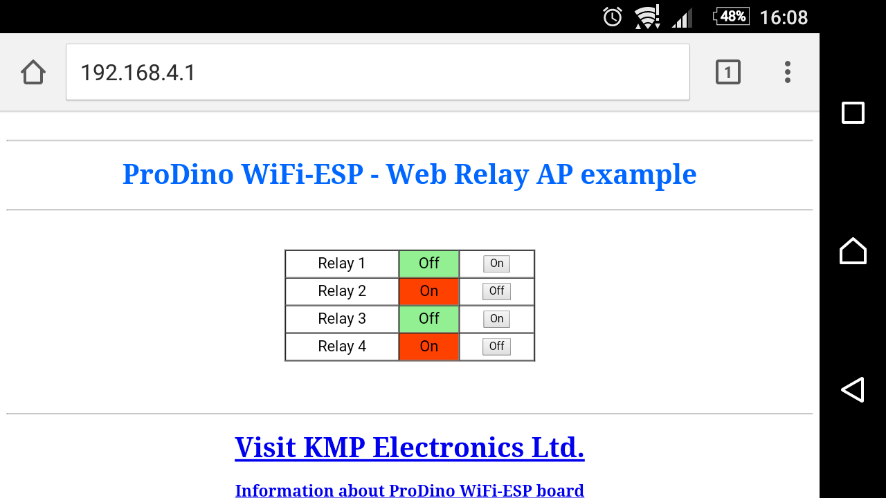 PRODINo WiFi ESP Internet relay