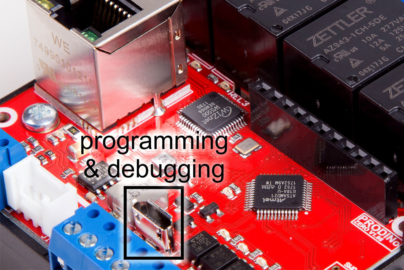ProDino MKR Versions Zero GSM Ethernet V1 programming and debugging port
