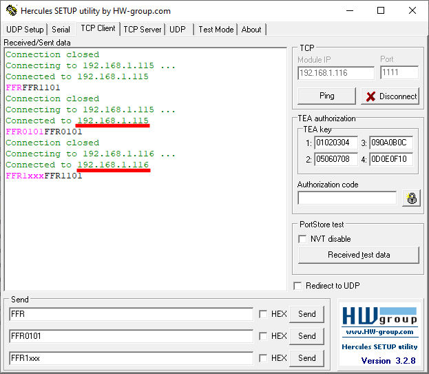 ProDino ESP32 TCP relay manipulation example