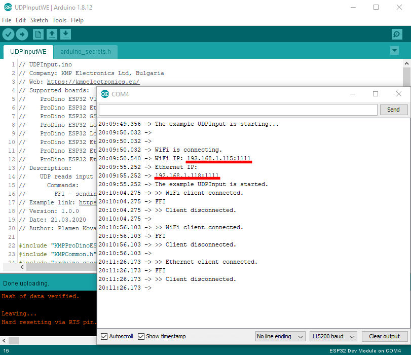 ProDino ESP32 UDP reads inputs example