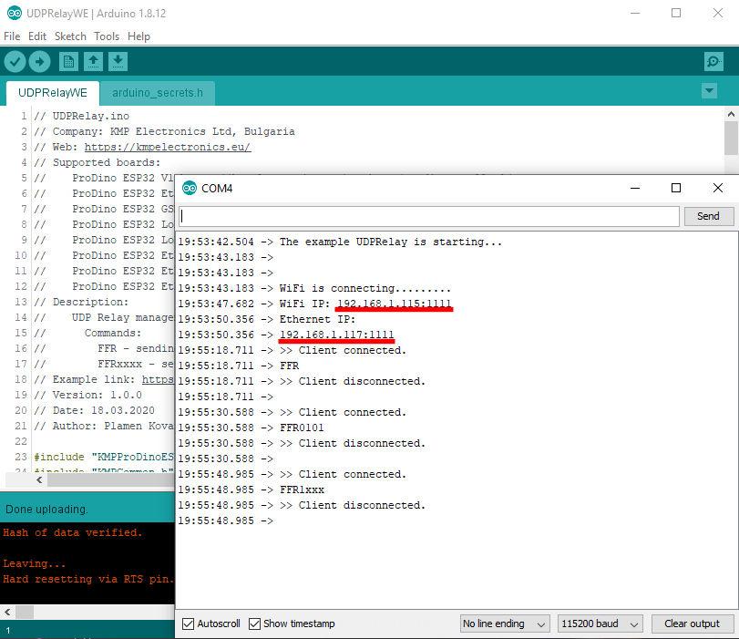 ProDino ESP32 UDP relay example