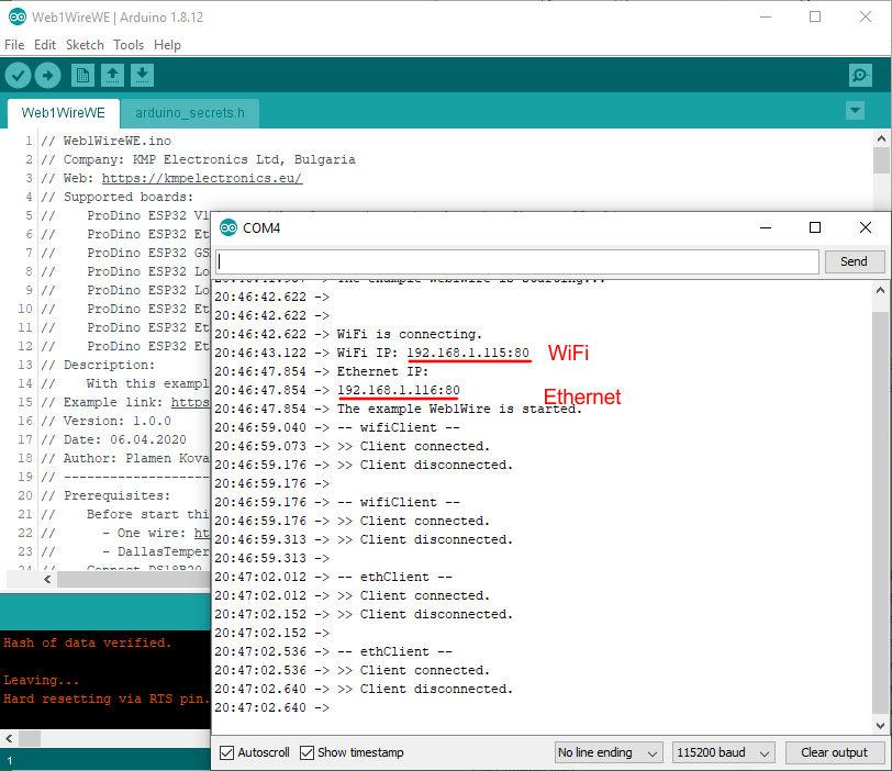 ProDino ESP32 web 1Wire temperature example