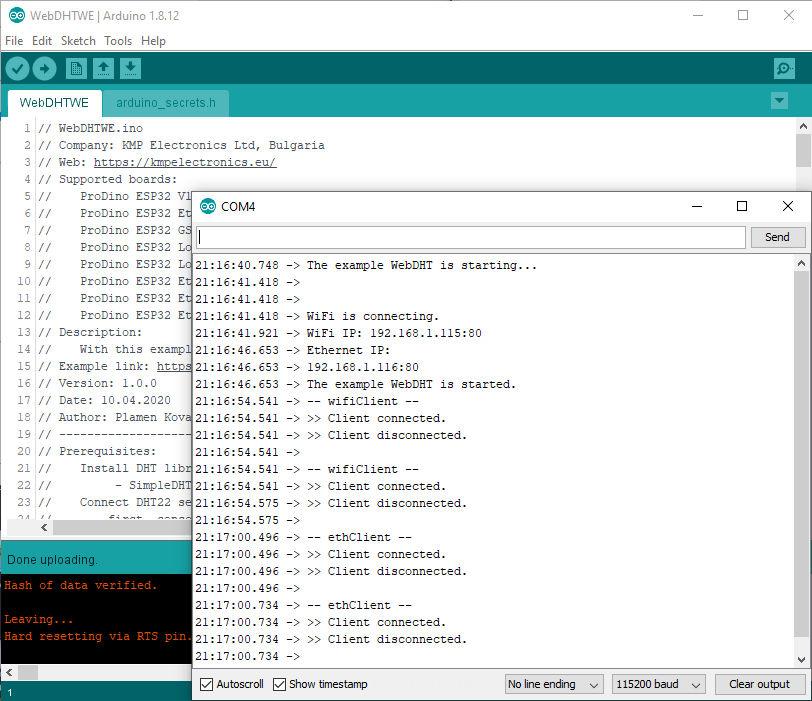 ProDino ESP32 web temperature DHT22 example