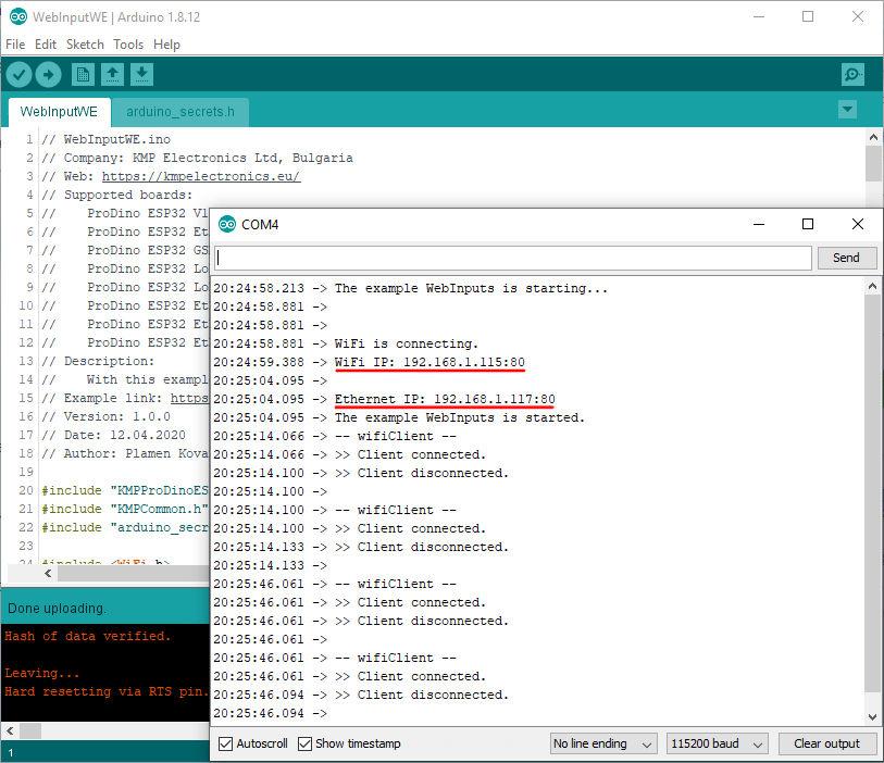 ProDino ESP32 web input example
